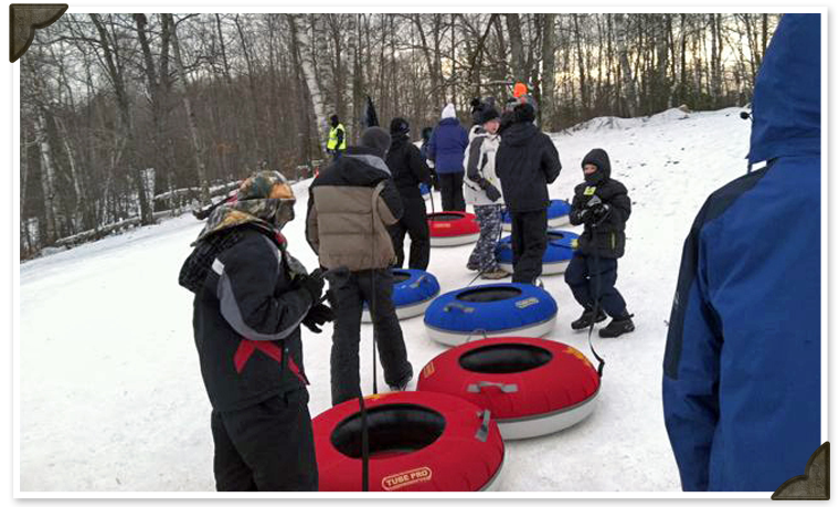 Sledding at Black's Cliff Lakeside Resort