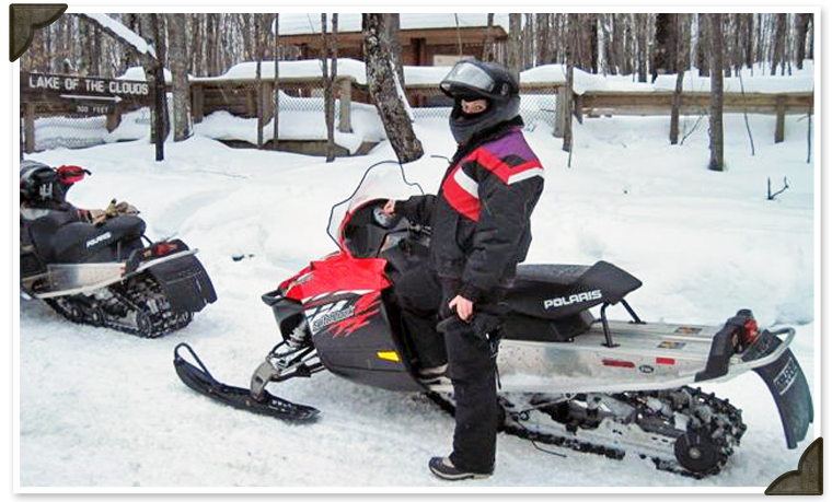 Snowmobiling at Black's Cliff Lakeside Resort